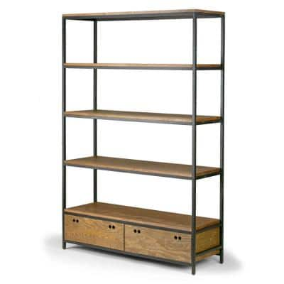 70.75 in. Brown/Black Metal 5-shelf Etagere Bookcase with Drawers