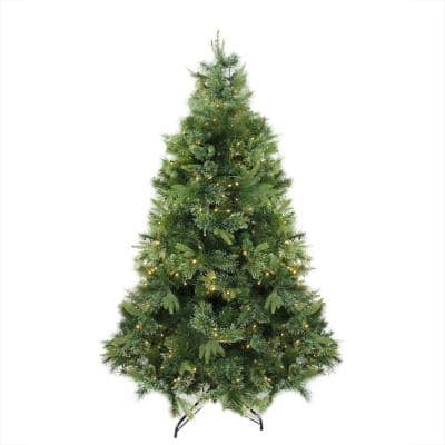 7.5 ft. x 55 in. Pre-Lit Cashmere Mixed Pine Artificial Christmas Tree Warm White LED Lights