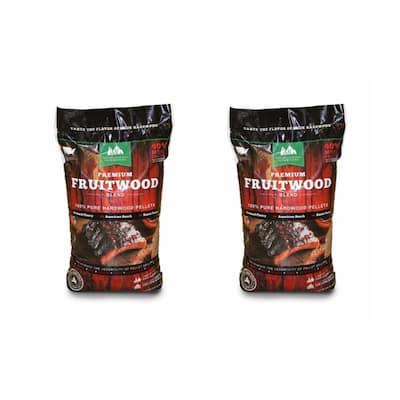 Premium Fruitwood Pure Hardwood Grilling Cooking Pellets (2-Pack)