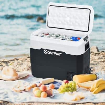 White Portable 53 QT/50 L with Wheels Chest Cooler Car Refrigerator -4°F to 50°F Dual-Zone