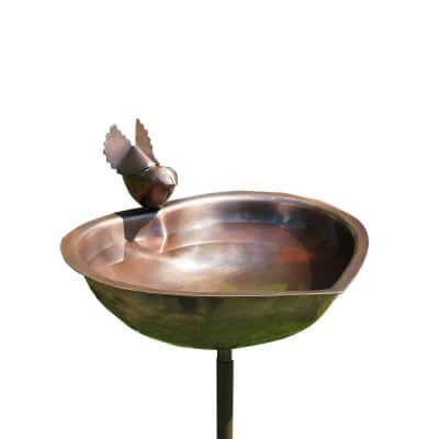 9 in. Dia, Antique Copper Heart Shaped Birdbath Bowl with Stake