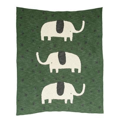 Green Cotton Knit with Elephants and Stars Baby Blanket