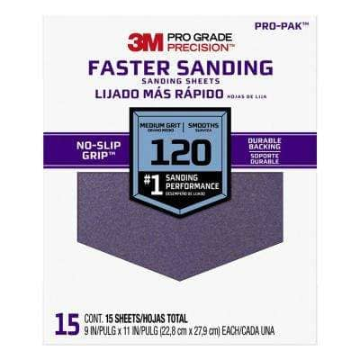 Pro Grade Precision 9 in. x 11 in. 120 Grit Medium Faster Sanding Sheets (15-Pack)