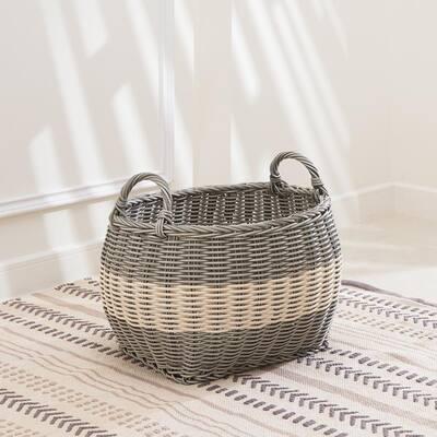 Hannah Medium Stackable Oval Resin Storage and Decorative Basket Set