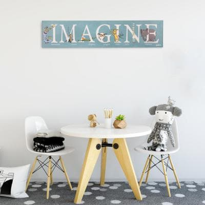 8 in. x 36 in. Dr. Seuss Colorful Characters Imagine Typography Stretched Canvas Wall Art