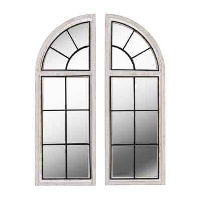 Quenby 42 in. x 15 in. Weathered White Wall Mirror (Set of 2)