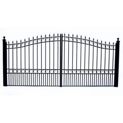 London Style 14 ft. x 6 ft. Black Steel Dual Driveway Fence Gate