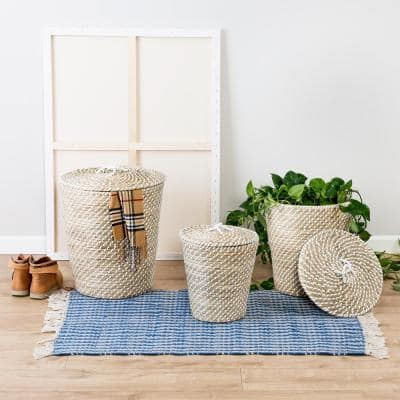 Natural and White Seagrass Accent Tall Basket Set with Lids (Set of 3)