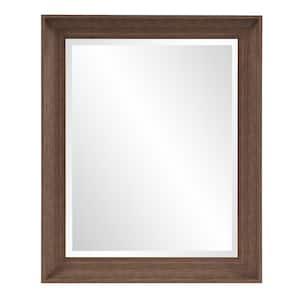 Medium Rectangle Dark Brown Modern Mirror (34 in. H x 28 in. W)