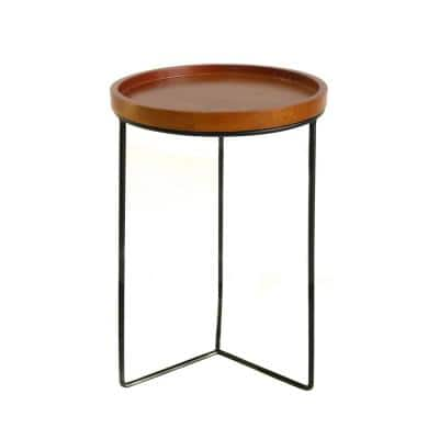 19 in. Triangle Base Wood Top Plant Stand