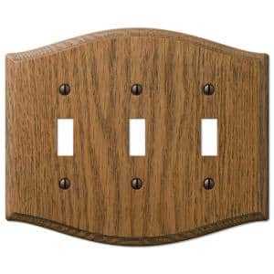 Country 3 Gang Toggle Wood Wall Plate - Medium Oak