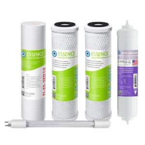Essence ROES-PHUV75 Replacement Water Filter Cartridge Pre-Filter Set with Alkaline and UV Sanitation Stage 1-3, 5 and 7