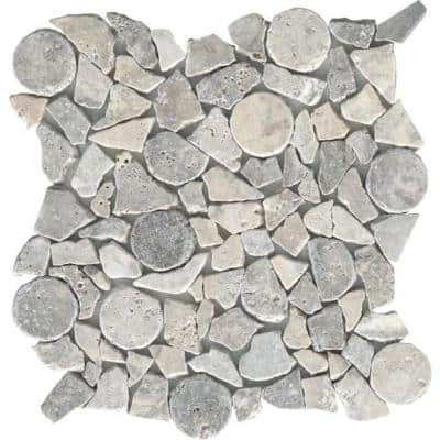 Trav Ancient Tumbled Silver Honed and Tumbled 11.81 in. x 11.81 in. x 10 mm Pebbles Mesh-Mounted Mosaic Tile