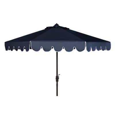 Venice 11 ft. Aluminum Market Tilt Patio Umbrella in Navy/White