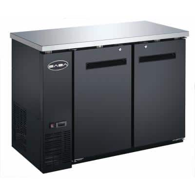 48 in. W 11.8 cu. ft. Commercial Solid Door Under Back Bar Cooler Refrigerator in Stainless Steel with Black