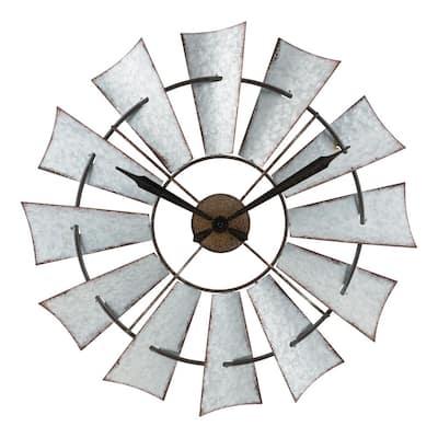 22 in. Metal Windmill Quartz Wall Clock with Silent Movement