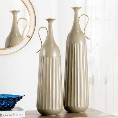 Global/Boho Metal Floor Vase (Set of 2)
