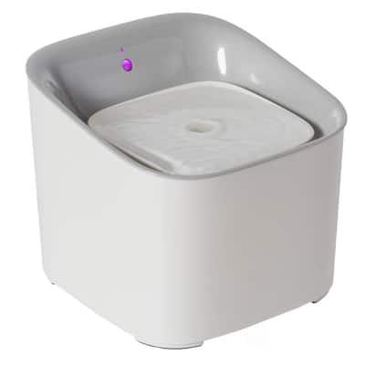 Plastic White Motion Sensor Pet, Dog or Cat Water Drinking Fountain, 3 Liter Capacity