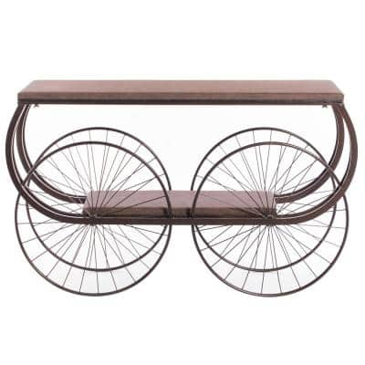 Brown 2-Tier Wagon Style Industrial Wooden and Metal Side End Table with Big Wheels