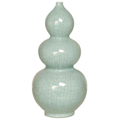 19 in. Double Gourd Celadon Crackle Porcelain Vase
