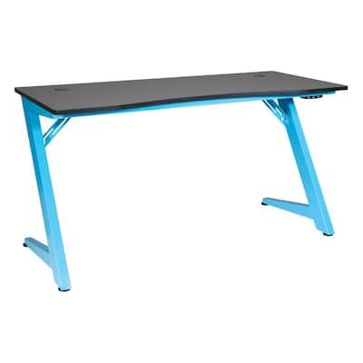 54 in. Rectangular Carbon Black/Matte Blue Computer Desk with USB Port
