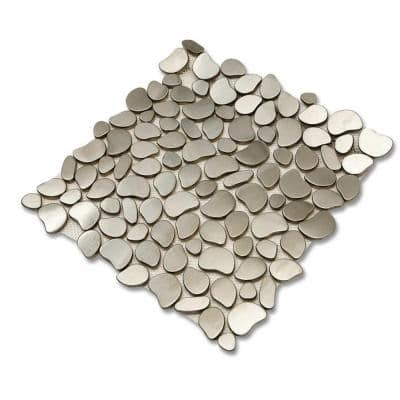 Corrie Pavestone 12 in. x 12 in. x 8 mm Polished Brushed Silver Metal Mosaic Tile