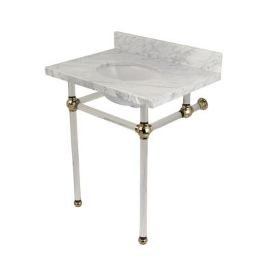 Washstand 30 in. Console Table in Carrara Marble White with Acrylic Legs in Polished Nickel