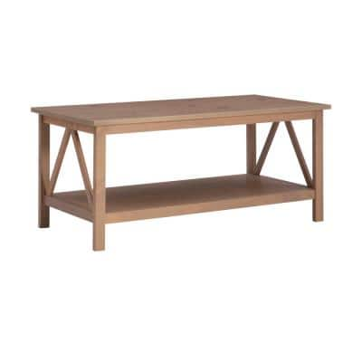 Titian 45 in. Driftwood Large Rectangle Wood Coffee Table with Shelf