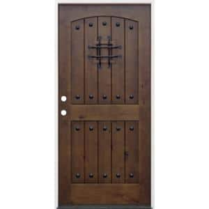 36 in. x 80 in. Walnut Right-Hand Inswing Arched 2-Panel V-Groove Speak Easy Stained Alder Prehung Front Door