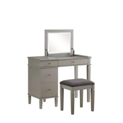 Gray Wooden Vanity Set with Flip Top Mirror and 4 Drawers (Set of 2)
