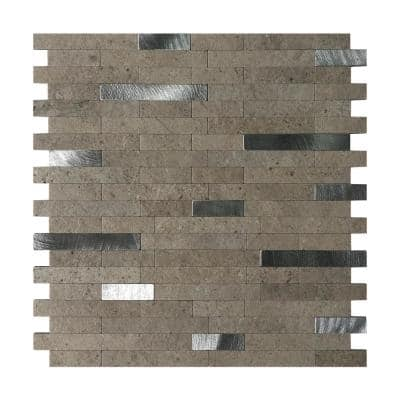 Grey 11.5 in. x 11.5 in. Rectangle Metal Peel and Stick Backsplash Tile (4.6 sq. ft./Pack)