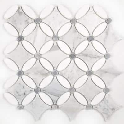 Calacatta White Oval 12 in. x 12 in. Glossy Marble Decorative Bathroom Mosaic Wall Tile Backsplash (10 sq. ft./Case)