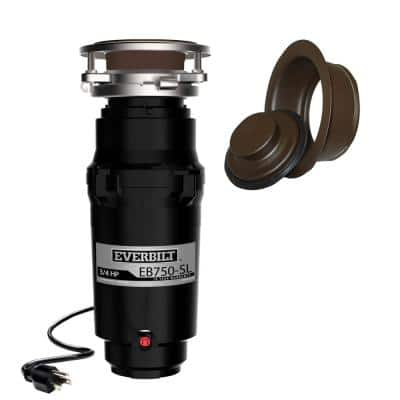 Designer Series 3/4 HP Slim Continuous Feed Garbage Disposal with Oil Rubbed Bronze Sink Flange and Attached Power Cord