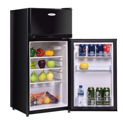 3.4 cu. ft. Compact Mini Fridges in Black with Freezer Reversible Door