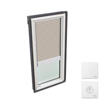 14-1/2 x 45-3/4 in. Fixed Deck Mount Skylight w/ Laminated LowE3 Glass, Classic Sand Solar Powered Light Filtering Blind
