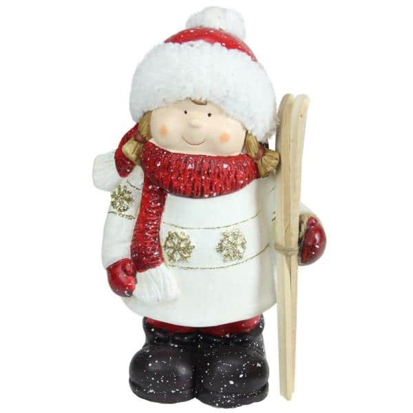 Northlight 11 In Christmas Morning Red And White Terracotta Girl With Skis Decorative Christmas Tabletop Figure 32257017 The Home Depot