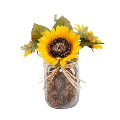 9.5 in. H Fall Harvest Artificial Yellow Sunflowers Garden in Glass Pinecone Jar