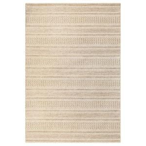 Natural Cream 9 ft. x 12 ft. Striped Indoor/Outdoor Area Rug