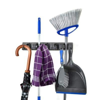 3 in. x 16 in. 5-Slot Wall Mounted Mop and Broom Holder