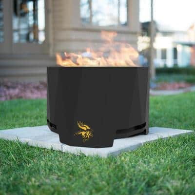 The Peak NFL 24 in. x 16 in. Round Steel Wood Patio Fire Pit - Minnesota Vikings