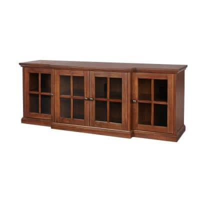 Edenridge Walnut Finish Wood TV Stand with Glass Windowpane Doors (62 in. W x 24.38 in. H)