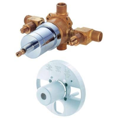 Single-Handle Tub and Shower Pressure Balance Valve with Screwdriver Stops in Rough Brass
