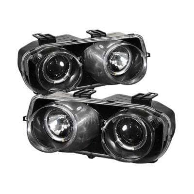 Acura Integra 94-97 Projector Headlights - LED Halo -Black - High H1 (Included) - Low 9006 (Included)