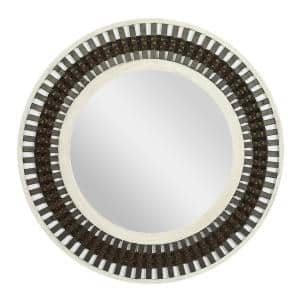 36 in. x 36 in. Brown Wood Contemporary Wall Mirror