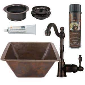 Bronze 16 Gauge Copper 17 in. Dual Mount Square Bar Sink with Faucet and Garbage Disposal Drain