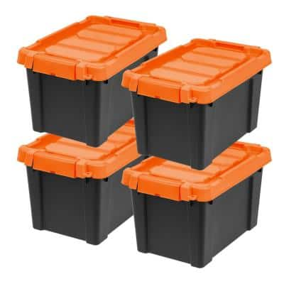 5-Gal. Store-It-All Tote in Black with Orange Lid and Buckles (4-Pack)