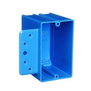 PVC Blue 1-Gang 18 cu. in. New Work Electrical Switch and Outlet Box with Bracket