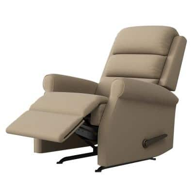 Left-Hand Barley Tan Low-Pile Velour Rocker Recliner
