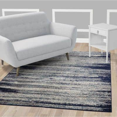 Jasmin Collection Stripes Design Navy and Ivory 2 ft. 7 in. x 9 ft. 10 in. Runner Rug