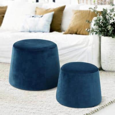 Pouf Footstool Velvet Dark Blue Ottoman Storage Round Floor Cushion Footstool for Living Room Bedroom
